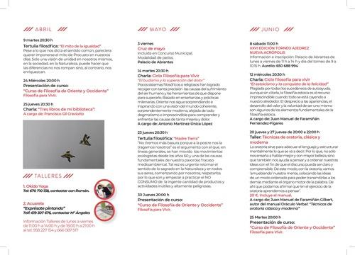 Programa de actividades de primavera de 2019