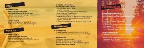 Programa de Verano: julio-agosto y septiembre